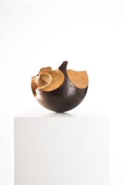 Driaan Claassen for Reticence, Abstract Geometric Sculpture, Wooden Sphere 001