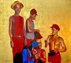 Fumando Esperan, ca. 2020 Mixed media on canvas , 23k gold leaf, edition 1/7