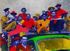 Como Salchicha en L, ca. 2020 Mixed media on canvas , metal  leaf, edition 1/7