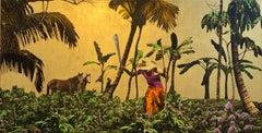 Golden Plantation  ca. 2019 Mixed media on canvas , 23k Gold leaf, edition 2/7