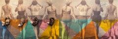 LAS ZORRAS Mixed Media Diptych, Acrylic On Canvas,Swarovski crystals, Fox tails