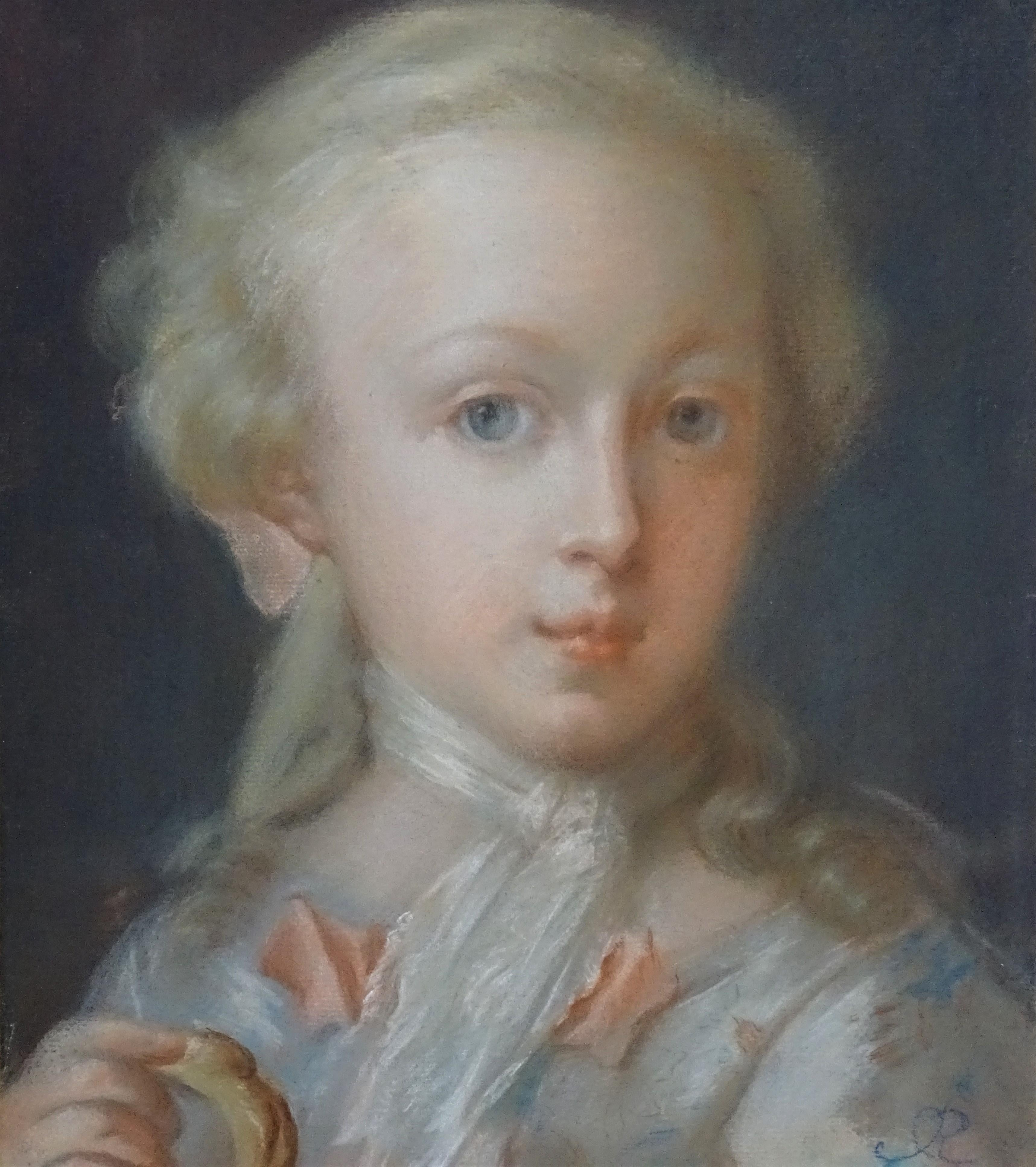 18th Century Rococò Rosalba Carriera Style Portrait of a Girl Pastel on Paper