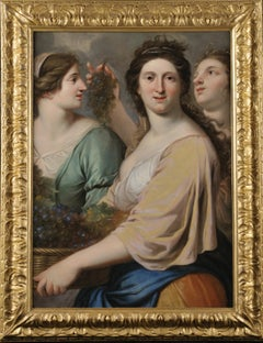 17th Century Baroque Style Eustache Le Sueur The Three Graces Oil on Canvas