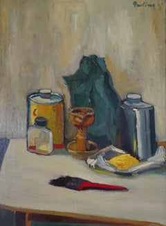 Still Life Salvatore Provino Oil On Canvas 20th Century Expressionism Style