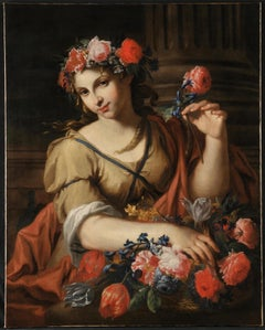 17th Century Baroque Style Antonio Franchi Lady with Flowers Oil on Canvas Red