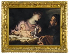 18th Century Rococò Style Antonio Balestra Nativity Oil on Canvas
