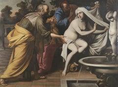 17th Century Baroque Style Pacecco De Rosa Susanna and the Elders Oil on Canvas