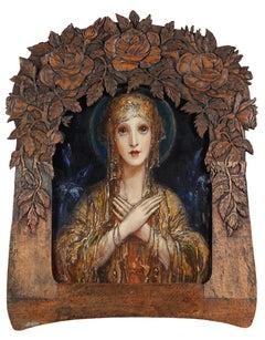"Franz Hofstötter ""Madonna"", magnificent painting with original Art Nouveau frame"