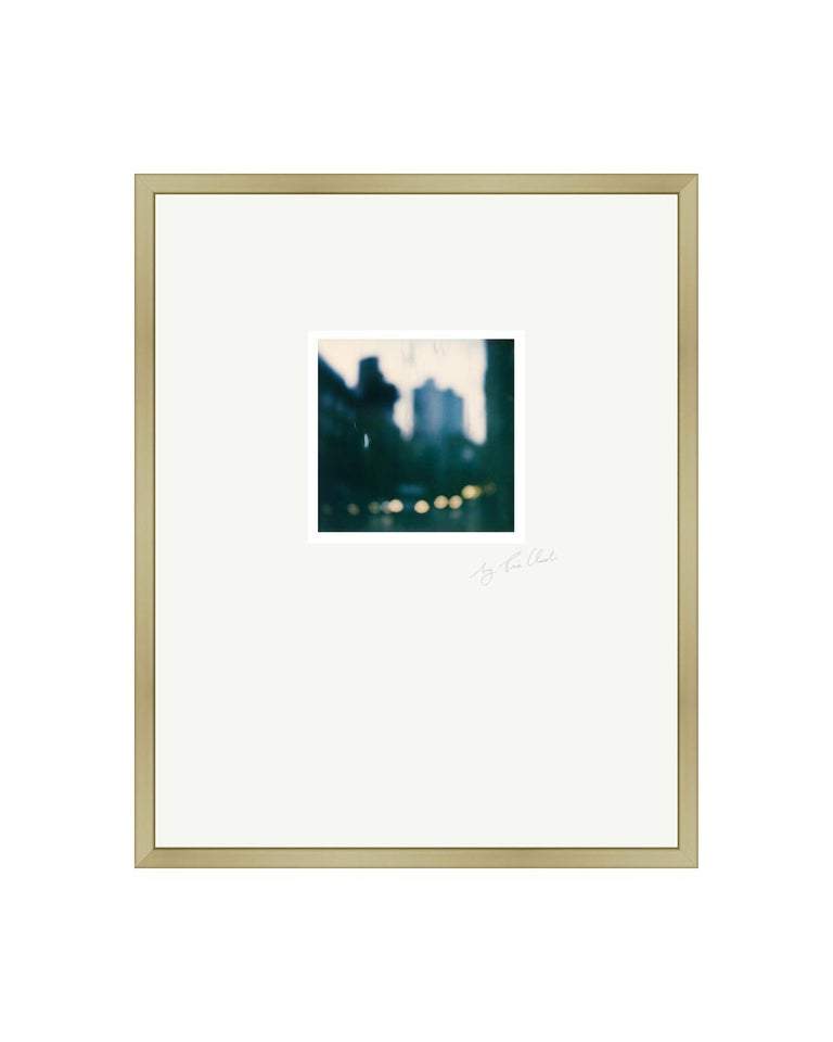 Paris Walks I - Framed Contemporary Landscape Polaroid Original Photograph - Gray Color Photograph by Pia Clodi