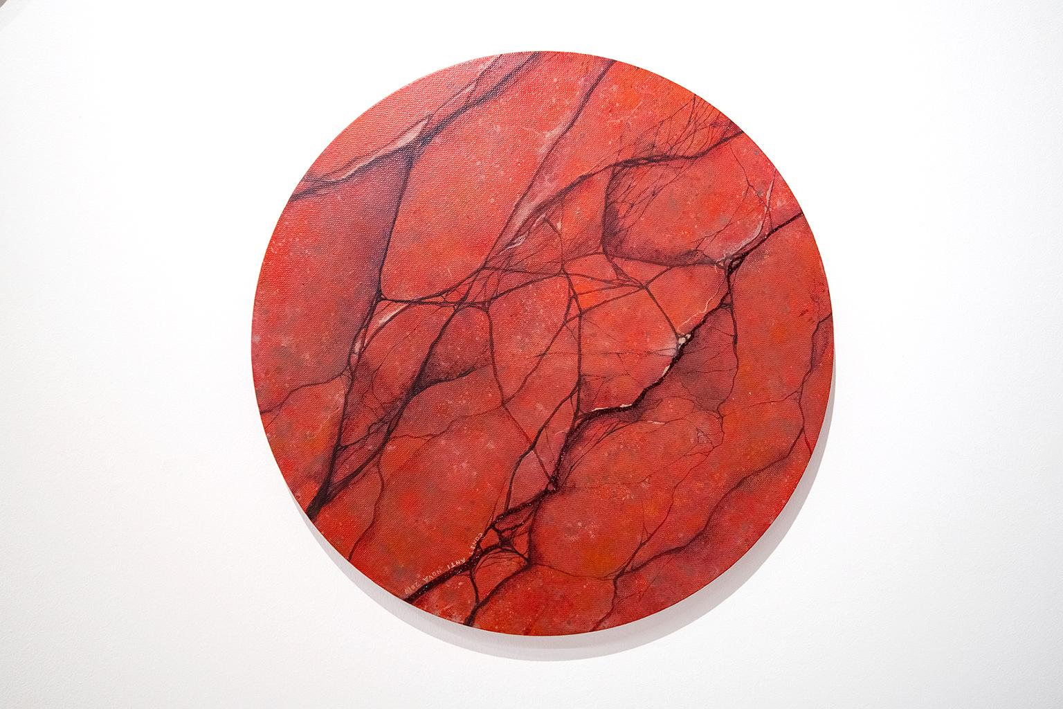 Girl, You'll Be A Woman Soon - Contemporary Acrylic Painting - Round Canvas