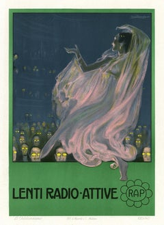Lenti Radio-Attive, Art Nouveau Ricordi Portfolio advertisement lithograph, 1912