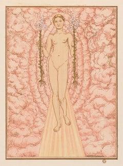 Androgyne, Symbolist mystical illustration for Hésperus by Carlos Schwabe, 1892
