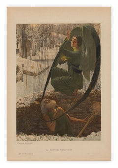 Death of the Gravedigger by Carlos Schwabe, Symbolist lithograph, c. 1900