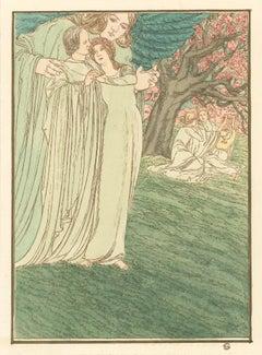 Illustration for Hésperus by Carlos Schwabe, Symbolist Japon aquarelle, 1892