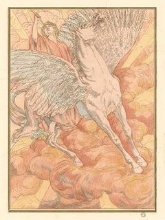 Horse Swan, Hésperus by Carlos Schwabe, Symbolist aquarelle, 1892