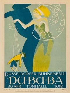 Düsseldorfer Bühnenball by R. Hoch, German Art Deco marionette lithograph