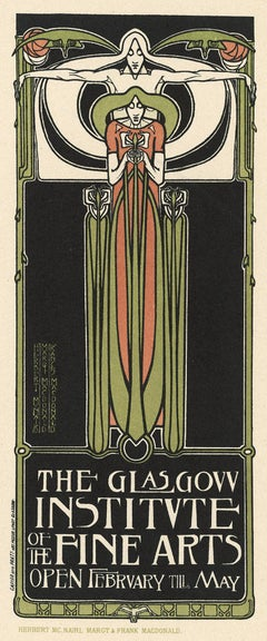The Glasgow Institute of the Fine Arts, Art Nouveau stone lithograph, 1897