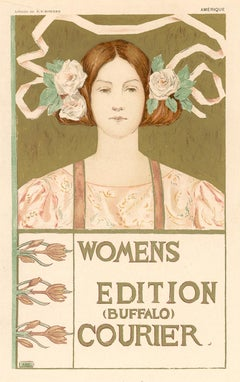 Women's Edition Buffalo Courier by Alice Russell Glenny, Art Nouveau lithograph