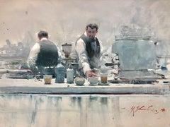 Baristas Study — Joseph Zbukvic b. 1952 (Watercolour, Realist) 2020