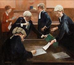 Legal Preparation — John Beeman b. 1926 (Figurative, Realist) Oil on Gesso 2014