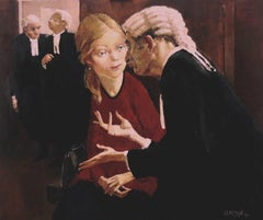 The Explanation — John Beeman b. 1926 (Figurative, Realist) Oil on Gesso 2016