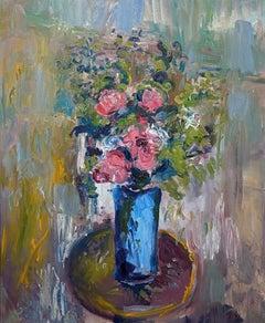 Flowers Blue Vase Round Table — Jamie Boyd b. 1948 (Still Life, Floral) 2016