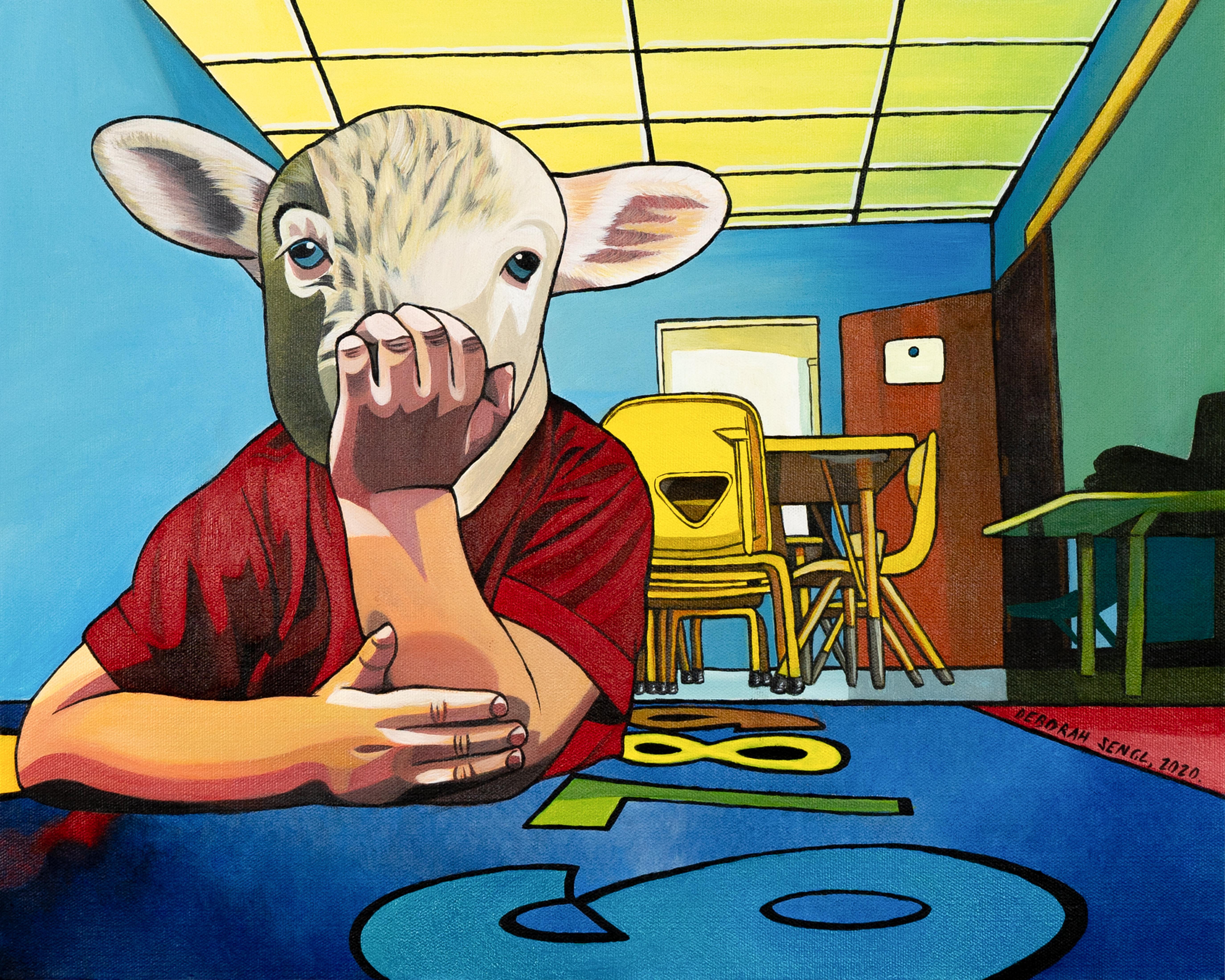Eyes Wide Shot - Deborah Sengl 21st Century Animal Sheep Figurative Painting