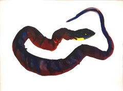 Snake II - 21st Century Animal Drawings and Watercolors Red Blue Unique