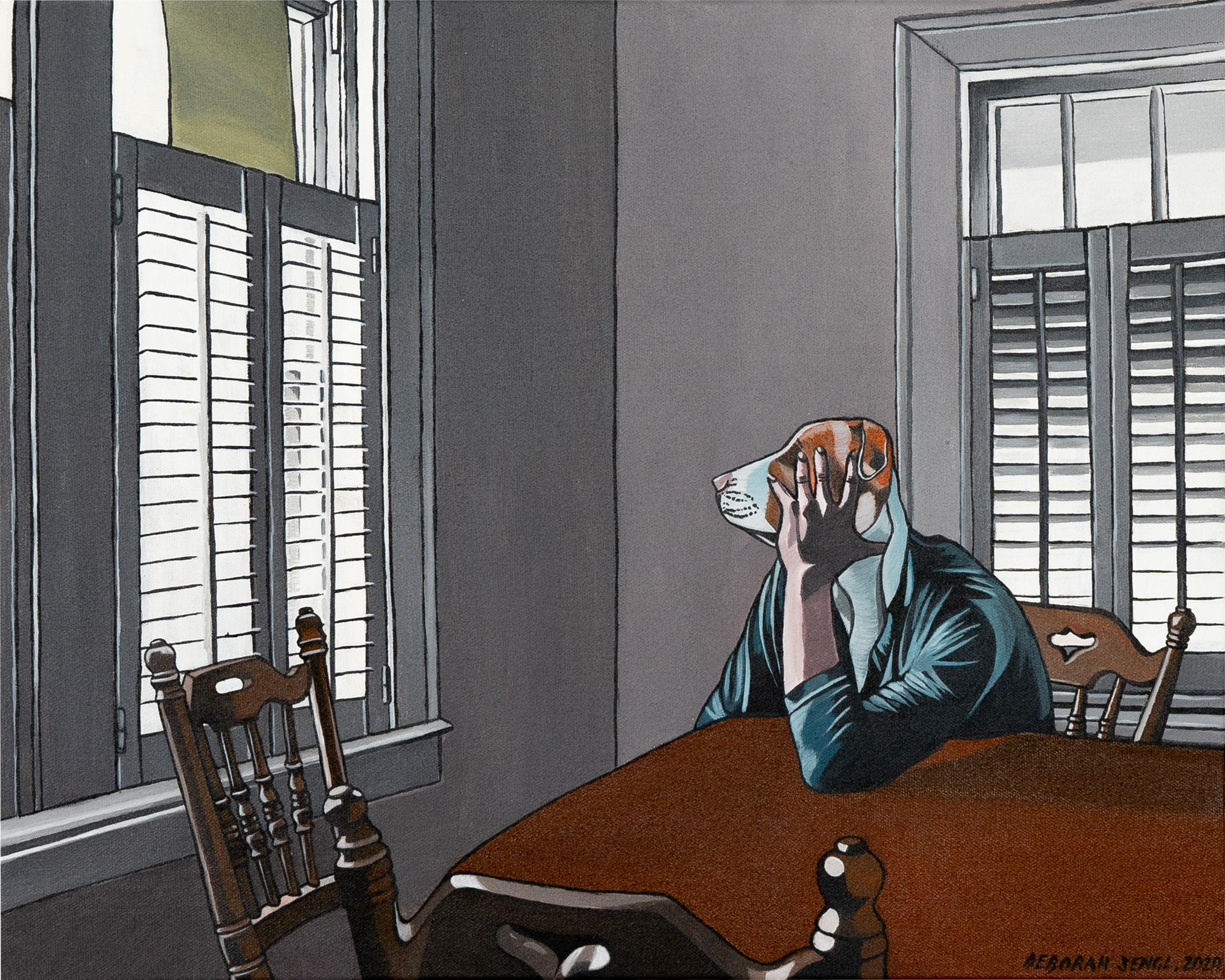Eyes Wide Shot - Deborah Sengl 21st Century Animal Figurative Painting Dog
