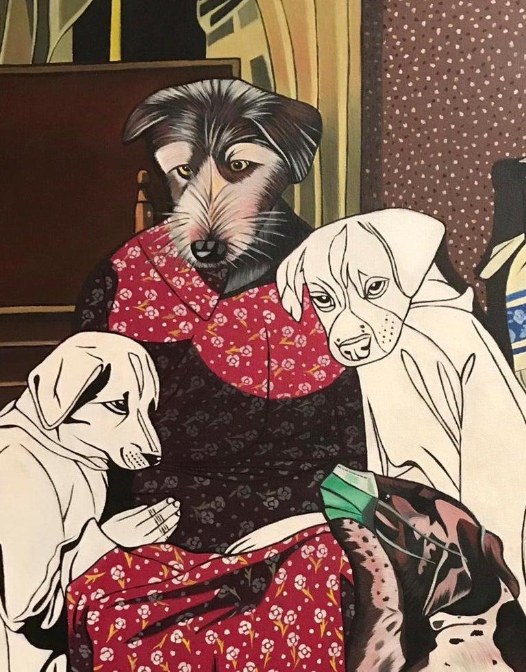 Coro(h)na - Deborah Sengl 21st Century Animal Figurative Painting Dog Unique For Sale 1