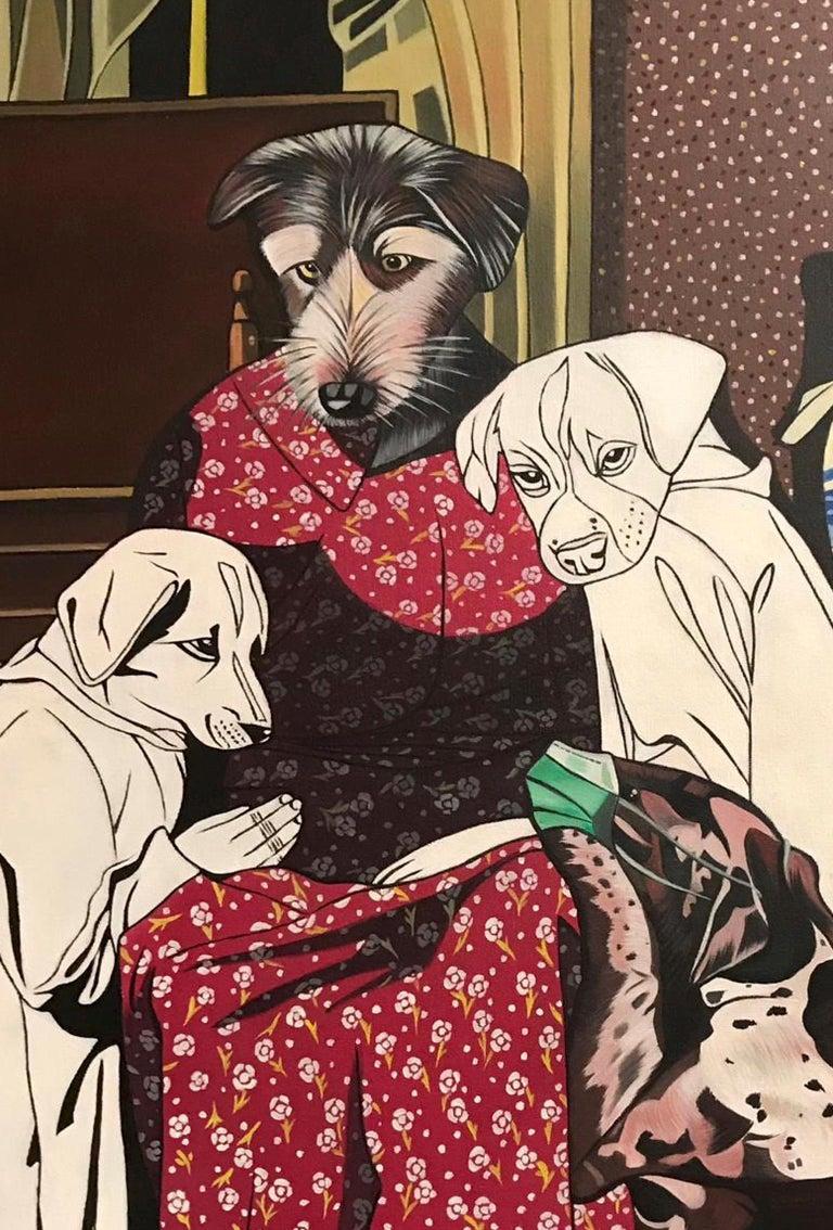 Coro(h)na - Deborah Sengl 21st Century Animal Figurative Painting Dog Unique For Sale 2