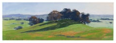 Green Hilltop - Pastel Landscape Painting of Hills Contemporary Impressionistic