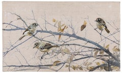 Spring Leaves I  - Encaustic and Oil Painting of Birds in a Tree Contemporary