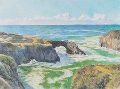 Mendocino Headlands - Landscape and Ocean Colored Pencil Drawing Contemporary