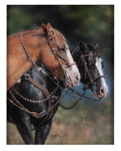 The Buddy System - Horse Pastel Painting Equine Western Photorealism