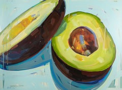 Holy Guacamole - Still Life Oil Painting of Avocado in Green and Blue