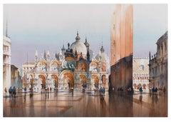 Shadows - Piazza San Marcos Venice Watercolor by Thomas Schaller