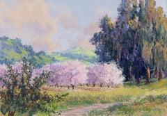 Cherry Parade - Large Pastel Landscape Painting of Blooming Cherry Orchard