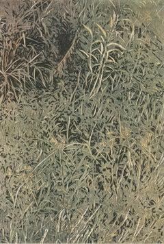 Running Grass - Linocut Print of Overgrown Grass in Greens and Yellow