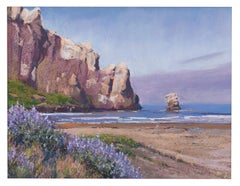 Morro Rock - Landscape and Ocean Pastel Painting Contemporary Impressionistic