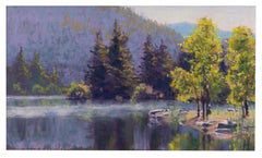Early Lake - Landscape Pastel Painting of a Lake in the Morning Impressionistic