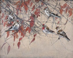 Ruduo - Encaustic Layered Painting of Birds in a Tree Contemporary