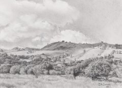 Shaded Hills of Coyote Creek - Landscape Graphite Drawing Contemporary