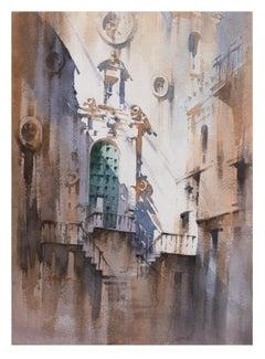 """""""Chiesa del Purgatorio"""" - Watercolor of Church in Cefalu in Sicily Italy"""