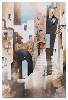 Street Scene, Sperlonga Italy - Watercolor Architecture in Browns and Blues
