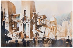 Fictional Bridge - Watercolor of Bridge and Town Architecture with graphite