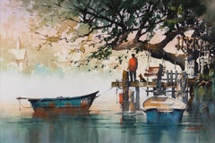 The End of Day - Watercolor of Boats in Water with Dock