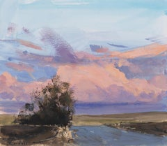 Cloud - Plein Air Gouache Landscape Painting during Sunset of Grassy Hills