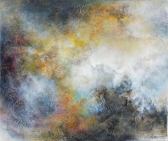 Atmosphere abstrac painting  acrylic 2020  39.37x47.24 linen canvas yellow blue