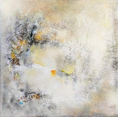 """abstract acrylic oxidation on linen canvas 100x100cm in wood crate """"Frost"""""""